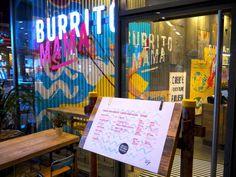 Burrito Mama Restaurant Interior by Soulful Creative for Burrito Mama (Wahaca) Decorating Apps, Interior Decorating, Restaurant Design, Restaurant Bar, Restaurant Interiors, Mural Cafe, 1990 Style, Wahaca, Bar Interior
