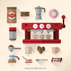 Coffee maker and coffee elements Free Vector