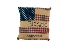 """This Patriotic Patch """"Blessed"""" Pillow 10x10"""" is the sweetest and would be adorable on a bench as your welcoming guests into your home! https://www.primitivestarquiltshop.com/products/patriotic-patch-blessed-pillow-10x10 #primitivecountrybedroomsbeddingandaccessories"""