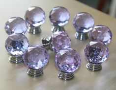 8 PCS Purple Crystal Knobs / Dresser Drawer Knobs by LBFEEL