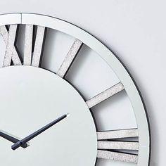 Silver Wall Clock, Mirror Wall Clock, Glitter Mirror, Wall Clock Brands, Cleaning Wipes, Modern Design, Glass, Hallways, Chloe