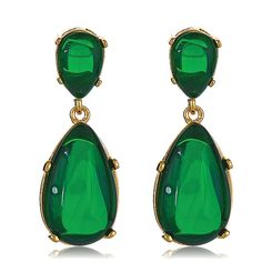 Kenneth Jay Lane Emerald Cabachon Celebrity Style Award Winning Earrings $100 www.HAUTEheadquarters.com