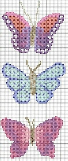 cross stitch chart for beaded bags using delica beads (butterflies) Butterfly Cross Stitch, Cross Stitch Bird, Cross Stitch Animals, Cross Stitch Flowers, Cross Stitching, Cross Stitch Embroidery, Embroidery Patterns, Cross Stitch Bookmarks, Cross Stitch Charts