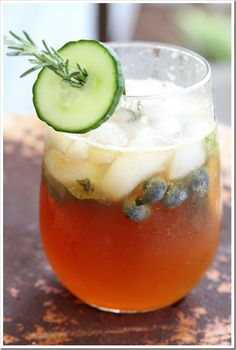 Like the idea of this little arrangement using rosemary and cucumber for a pitcher of afternoon Pimms
