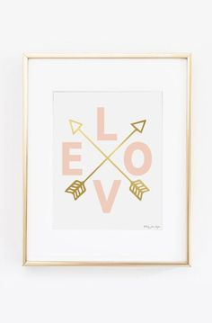 Love and Gold Arrows Wall Art, Pink and Gold