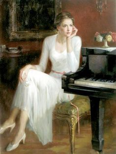 scenes at a piano. Oil Painting Abstract, Woman Painting, Figure Painting, Painting Art, Figure Drawing, Watercolor Painting, Female Portrait, Female Art, Woman Portrait