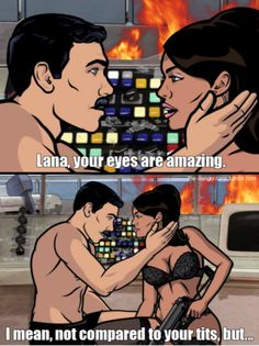 Eye See What You Did There is listed (or ranked) 5 on the list The Greatest Sterling Archer Quotes Archer Tv Show, Archer Fx, Archer Funny, Archer Quotes, Sterling Archer, Danger Zone, Adult Cartoons, Funny As Hell, Best Tv