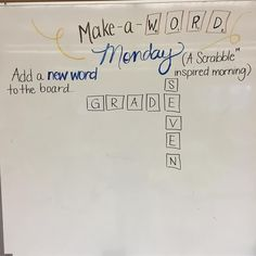 Make-a-word Monday. inspired message board thanks for the idea. This should be a fun one! Days Of The Week Activities, Morning Activities, Work Activities, Classroom Activities, Classroom Routines, Morning Board, Responsive Classroom, Classroom Community, Morning Messages