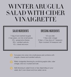 Winter Arugula Salad w/Cider Vinaigrette - Revelry House