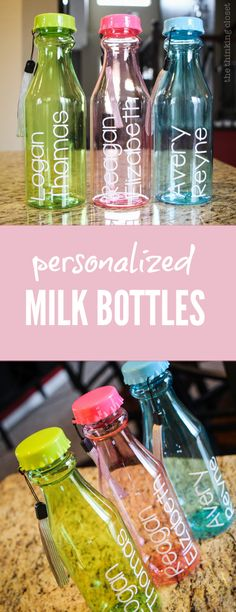 Personalized Plastic Milk Bottles: such a fun throw-back to the days of the vintage milk bottle. These would make such great shower favors or hostess gifts (for the kids!). Super easy to customize, too!