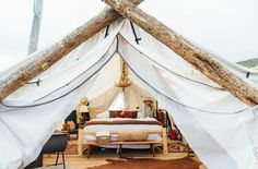 The Vail Collective Retreat, Wolcott, Colorado. Just twenty miles west of Vail, this village of luxury tents is perfect camping grounds for the crew that's looking to keep chic accommodations. And of course none of the Safari tents at Vail Collective Retreat would be complete without a badass antler chandelier hanging overhead. Photo Credit: Pure Lee Photography