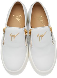 5be18bdbd529d Giuseppe Zanotti - White Leather London Slip-On Sneakers Slip On Sneakers,  White Sneakers