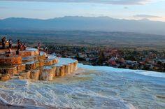 The Travertine pools of Pamukkale, Turkey