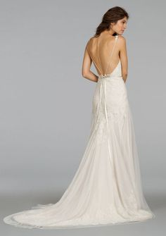 Style 9405 - Ivory English net over champagne charmeuse slim bridal gown with French Alencon lace placed throughout. Deep V neckline with low back and jeweled ribbon at natural waist.