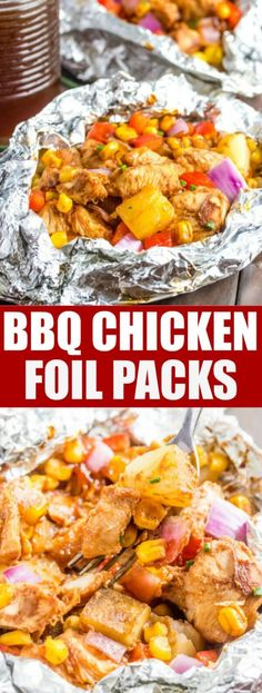 BBQ Chicken Foil Packs filled with bell peppers, barbecue sauce, onions and all the fixings can be grilled or baked in the oven. The perfect camping food. Campfire Meals In Foil Tin Foil Dinners, Hobo Dinners, Foil Packet Dinners, Foil Pack Meals, Camping Foil Dinners, Campfire Meals Foil, Bbq Chicken, Chicken Recipes, Chicken Rice