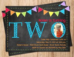 Chalkboard Bright Colored Rainbow Bunting by MoonshyneDesigns - 2nd birthday invite