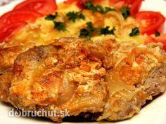 Zapečené bravčové rezne s cibuľou Quiche, Homemade, Meat, Chicken, Breakfast, Recipes, Morning Coffee, Home Made, Recipies