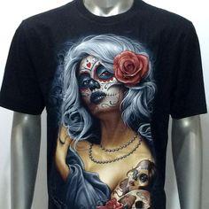 Rock Eagle T-Shirt Tattoo Lady Cross Rose Cotton Fancy Forever Love Horror Skull Girl Tattoo, Rock Tattoo, Girl Skull, Pin Up Tattoos, Hair Tattoos, Day Of The Dead Girl, Marilyn Monroe Artwork, Chicano Art Tattoos, Feminine Tattoos