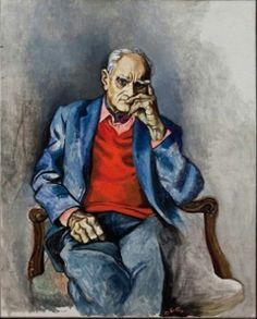 Renato Guttuso - Ritratto di Moravia con maglione rosso, 1982