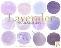 Lavender Watercolor Circles Clip Art. Purple Logo Design Elements. , Mauve, Pink Hand Painted Watercolour Shapes. Digital Watercolor Circles