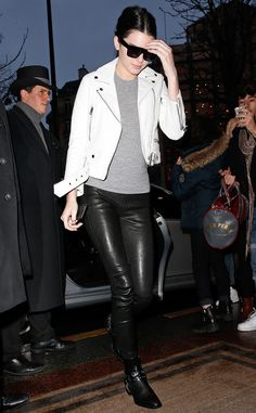 Shades After Dark from Kendall Jenner's Street Style  It may be twilight in Paris, but the in-demand model keeps her sleek Celine shades on for the evening.