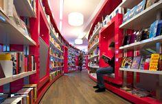 unique book store interior design - book shelves