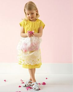 Flower Girl Pinafore - make a pretty pinafore  (apron) to match the flower girl dresses. Put the petals in the pocket rather than in a basket.