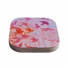 "Marianna Tankelevich ""Bird's Dream"" Lavendar Pink Coasters (Set of 4)"
