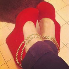 Red platform chain wedges.