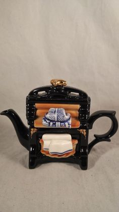 """Vintage Miniature One Cup Cardew Design """"Baking Day"""" Display Teapot In Box ~ Chocolate Pots, Chocolate Coffee, Teapots And Cups, Teacups, Tea Kettles, Washers, Tea Sets, Cookie Jars, China Porcelain"""