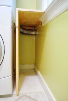 Building Laundry Room Shelves Next To A Stacked Washer & Dryer | Young House…