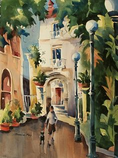 """A walk in the park-Sorrento by Jinnie May Watercolor ~ 30"""" x 22"""""""