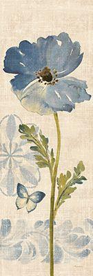 Watercolor Poppies Blue Panel II  12x36 Pamela Gladding