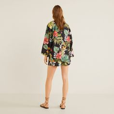 MANGO | Veepee Kimono Jacket, Print Jacket, Kimono Top, Mango Online Shop, Batwing Sleeve, Long Sleeve, Mango France, Bat Wings, Couture