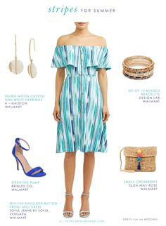 Daytime summer outfit with off-the-shoulder casual blue dress and cute accessories from Walmart #Ad #WeDressAmerica #WalmartFashion Cute White Dress, White Wrap Dress, Blue Dress Casual, Blue Dresses, Simple Outfits, Simple Dresses, Walmart Dresses, Hot Summer Outfits, Engagement Photo Outfits