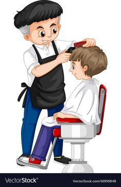Barber giving boy haircut Royalty Free Vector Image Preschool Jobs, Community Helpers Preschool, Kindergarten, Flashcards For Kids, People Who Help Us, Community Workers, Cartoon Kids, Kids Education, Barber