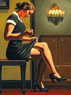 "Kenton Nelson (b 1954, USA) - Mending, oil on canvas, 40x30"""