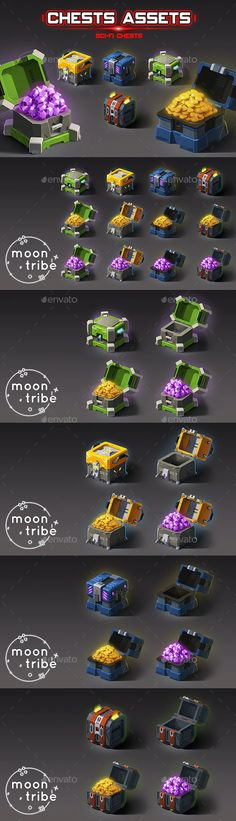 2D Chests Assets - Sci-Fi by MoonTribeStudio | GraphicRiver Game Assets, Paint Set, Game Art, 2d, Sci Fi, Animation, Hand Painted, Design, Science Fiction