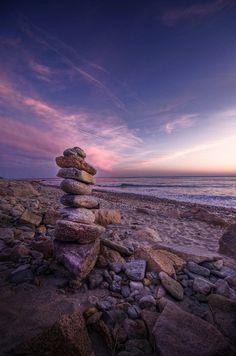 Pink & Purple Far Left of Sunset by Frank C. Grace (Trig Photography), via Flickr | #landscape #seascape #beach #rocks #water #clouds #pink #blue #purple