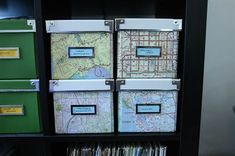 Another great idea for using maps - decorating ikea boxes