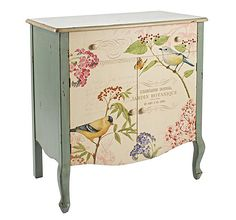 Featuring a botanical bird design, this elm wood chest of drawers provides essential storage space for crockery in your kitchen or photos and documents in yo. Decoupage Furniture, Hand Painted Furniture, Paint Furniture, Shabby Chic Furniture, Custom Furniture, Cool Furniture, Refurbished Dressers, Shabby Chic Drawers, Caracole Furniture
