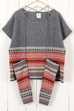 グレー Interesting...I have an old (too small) fair isle sweater that I've been thinking of taking apart...
