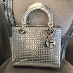 Lady Dior metallic perforated bag