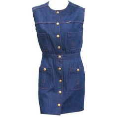 View this item and discover similar for sale at - A blue denim button up mini dress by Chanel designed by Karl Lagerfeld. The dress features a raw hem, four front pockets, red contrast stitch, 'Chanel' Day Dresses, Blue Dresses, Short Dresses, Denim Dresses, Purple Dress, Denim Mini, Blue Denim, Denim Button Up Dress, Karl Lagerfeld