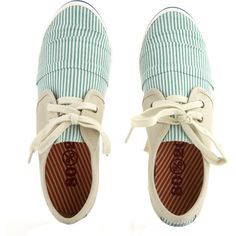 Green and White Stripes Flat Sneakers- Moxsie