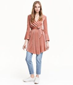 Rose. Short, V-neck dress in soft velour with a sheen. Attached wrapover at front, 3/4-length sleeves with trumpet cuffs, and elasticized seam at waist.