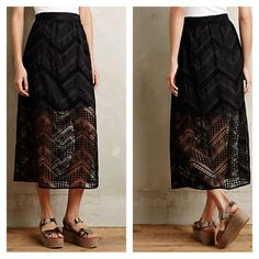 """{Anthropologie} Embroidered Isoline Skirt Embroidered rayon-cotton organza; polyester, spandex lining A-line midi silhouette - 34"""" Long Side zip Dry clean USA NEW WITHOUT TAGS! Small line drawn through name brand on inner label, otherwise in new condition. Anthropologie Skirts"""