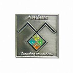 Geocaching lapel pin: Anthus, antique silver