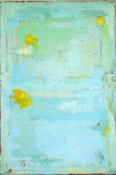 MODERN ABSTRACT PAINTING blue contemporary art blue green yellow aqua large 24 x 36 on canvas by Cheryl Wasilow