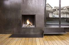 Galvanised metal fireplace